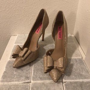 Betsey Johnson Parisss Bow Glitter Heels